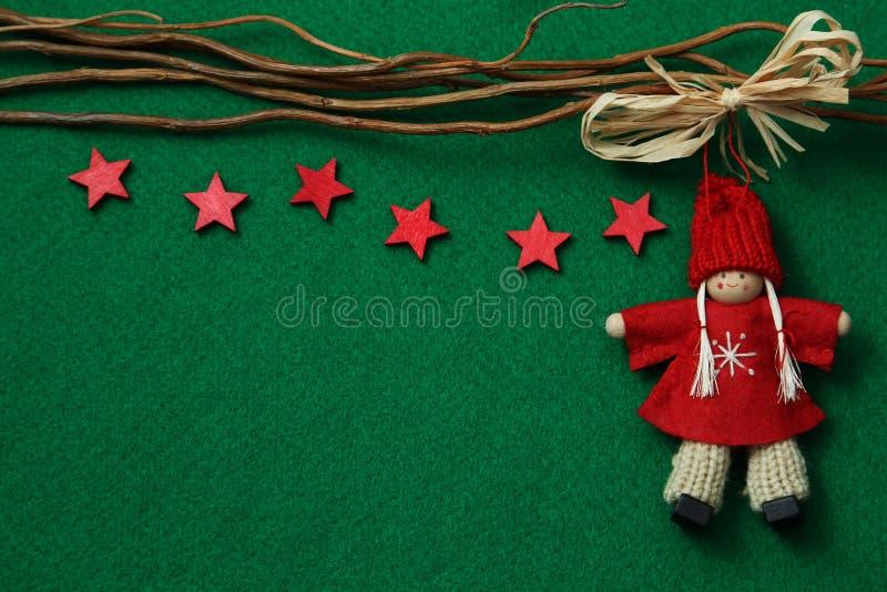 Sterne und Engel auf Filzhintergrund stockfoto