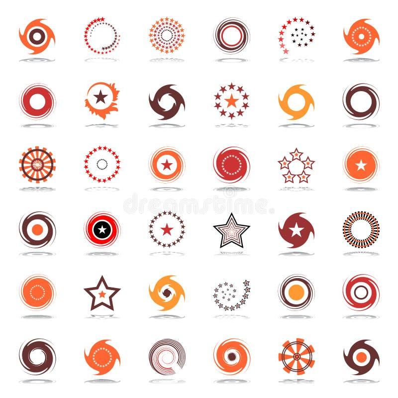 Sterne und Rotation Konzipieren Sie Elemente in den warmen Farben stock abbildung