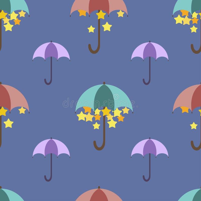 Sterne werden unter einem hellen Regenschirm, Muster versteckt stock abbildung