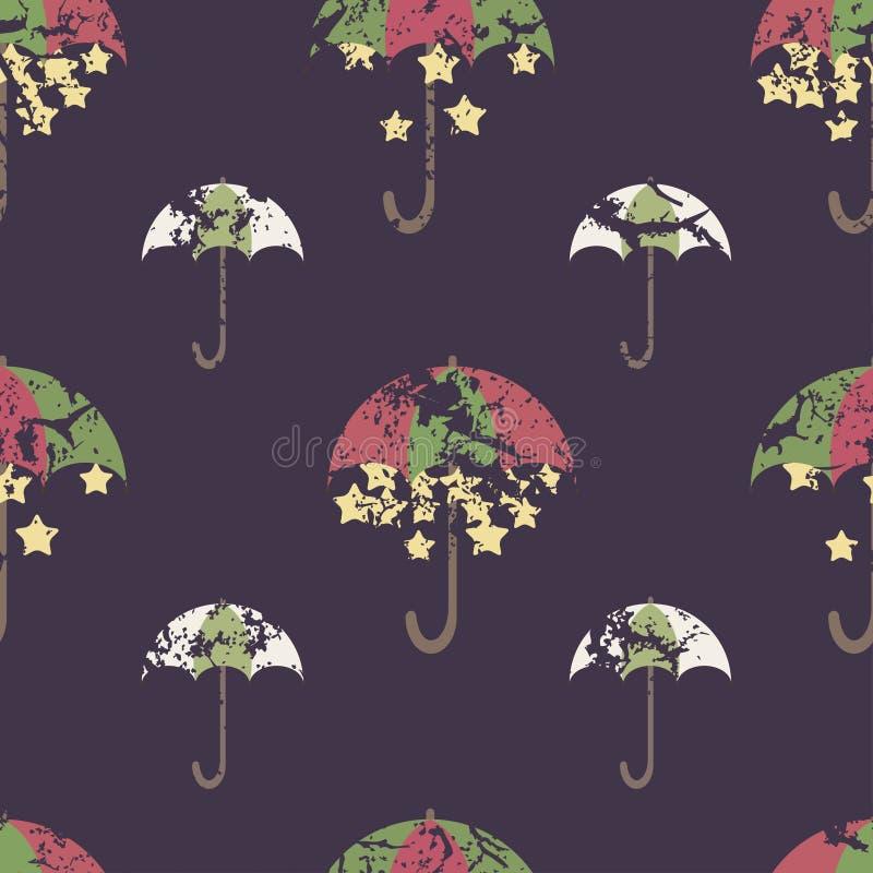 Sterne werden unter einem hellen Regenschirm, nahtloses Muster versteckt vektor abbildung