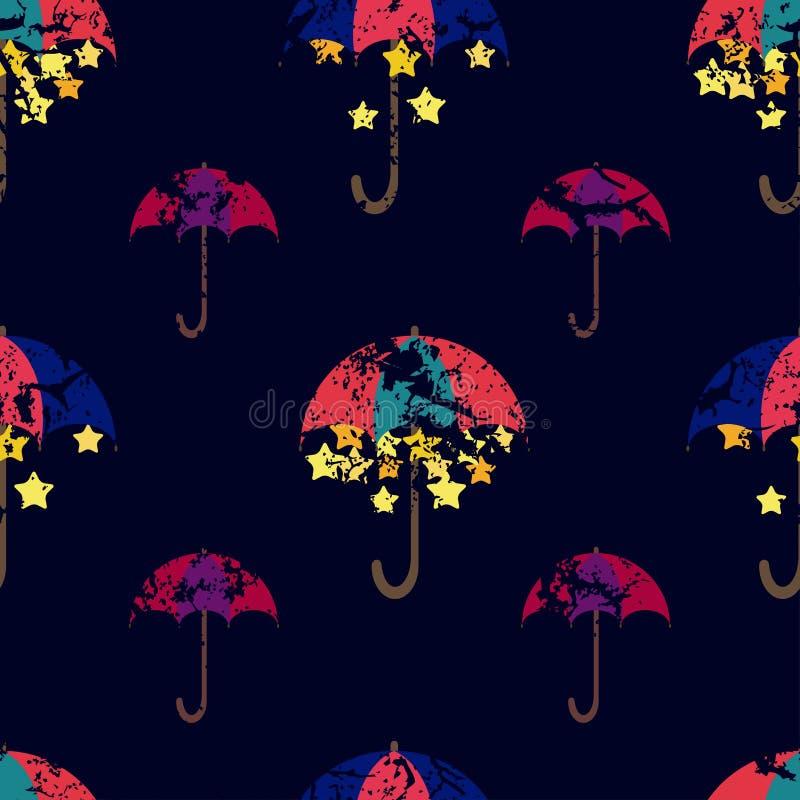 Sterne werden unter einem hellen Regenschirm, nahtloses Muster versteckt Vect vektor abbildung
