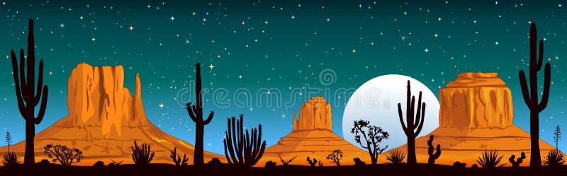 Sternenklare Nacht über der Arizona-Wüste lizenzfreie abbildung