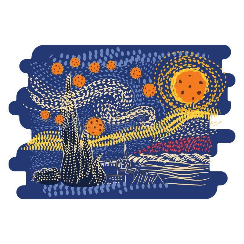 Sternenklare Nacht-Van Gogh-Kunstartvektor lizenzfreie abbildung
