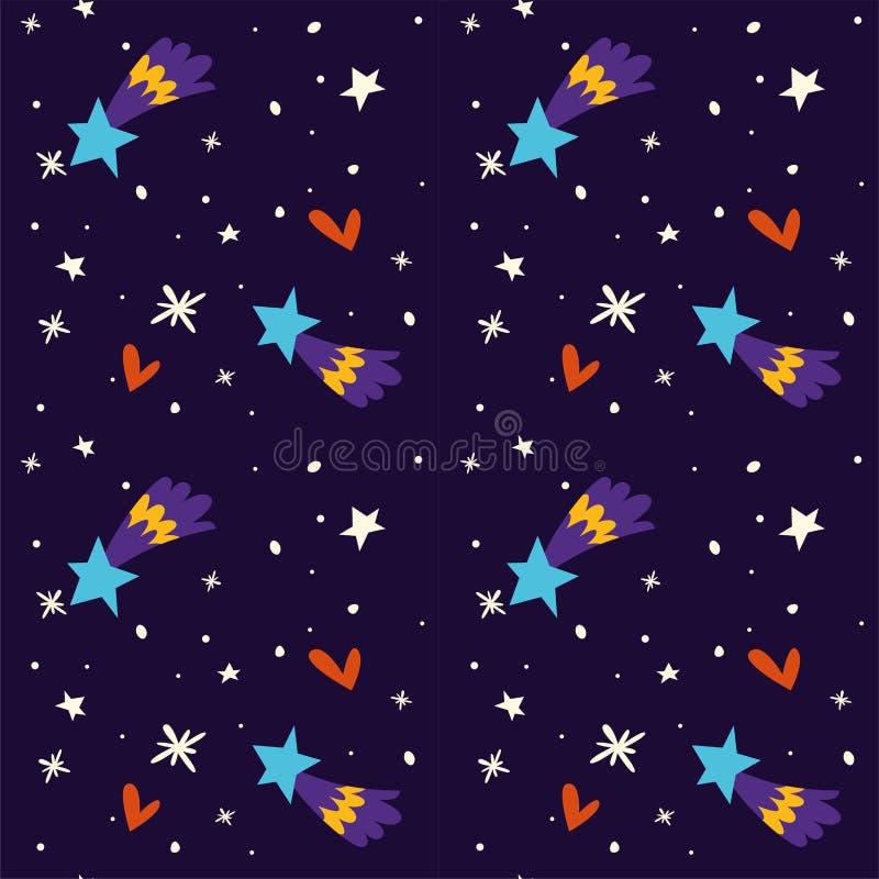 Sternenklare Nacht Winterhimmel Feiertag froher Weihnachten am SylvesterabendVektor vektor abbildung