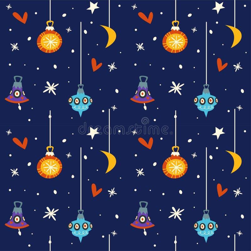 Sternenklare Nacht Winterhimmel Feiertag froher Weihnachten am SylvesterabendVektor stock abbildung