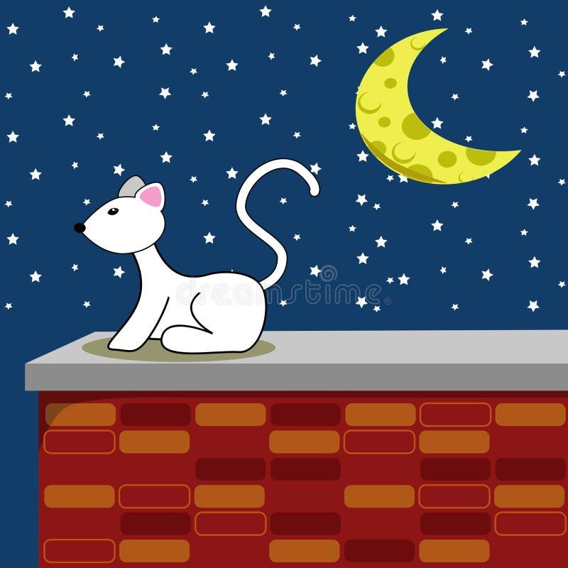 Sternenklare Nachtweiß-Katze vektor abbildung