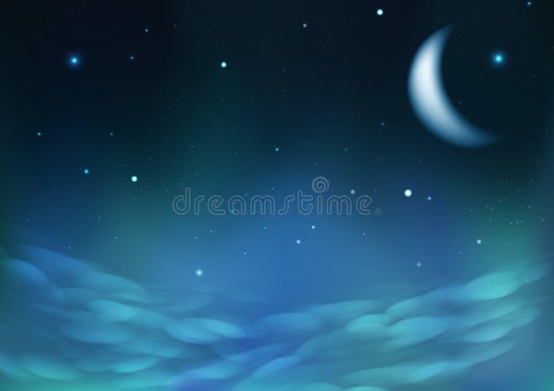 Sternenklare Streuung auf Nachtbewölktem Himmel mit Mond, Fantasieastronomiekonstellationskonzeptzusammenfassungshintergrund-Vekt lizenzfreie abbildung