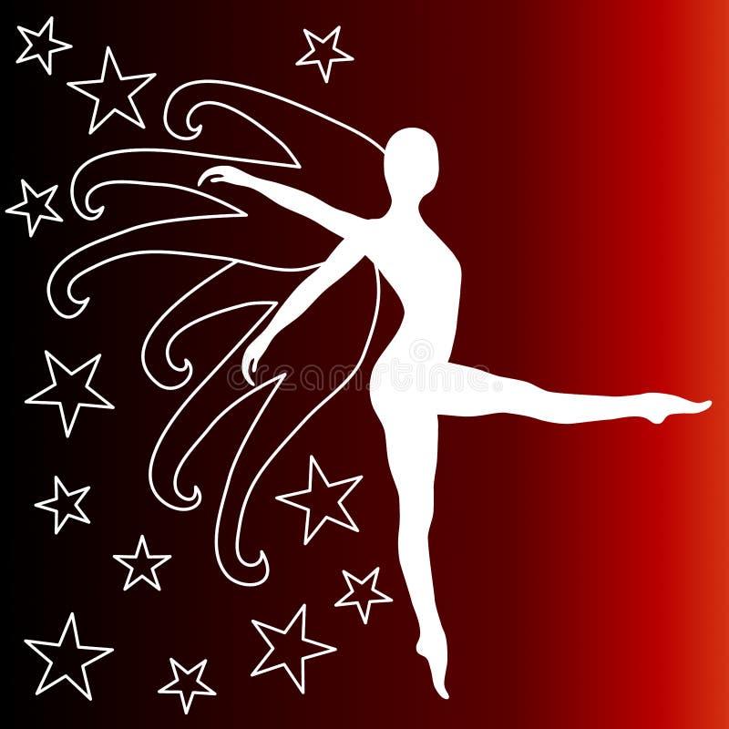 Sternenklare Tanzenfrau mit Flügeln stock abbildung
