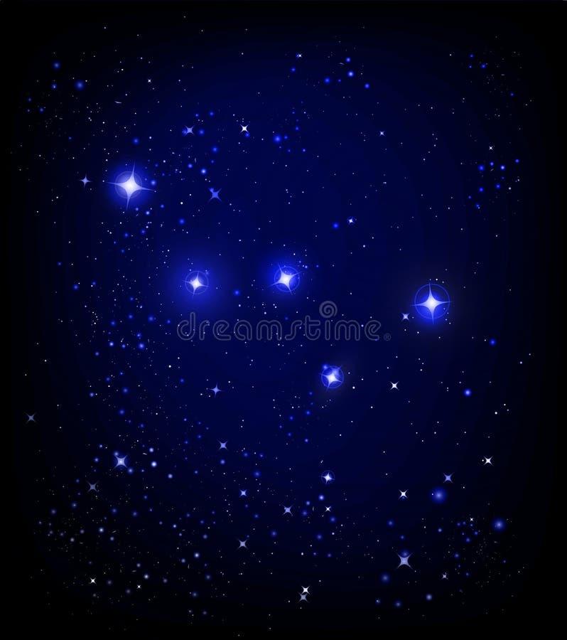Sternenklarer Himmel und Cassiopeiakonstellation lizenzfreie abbildung