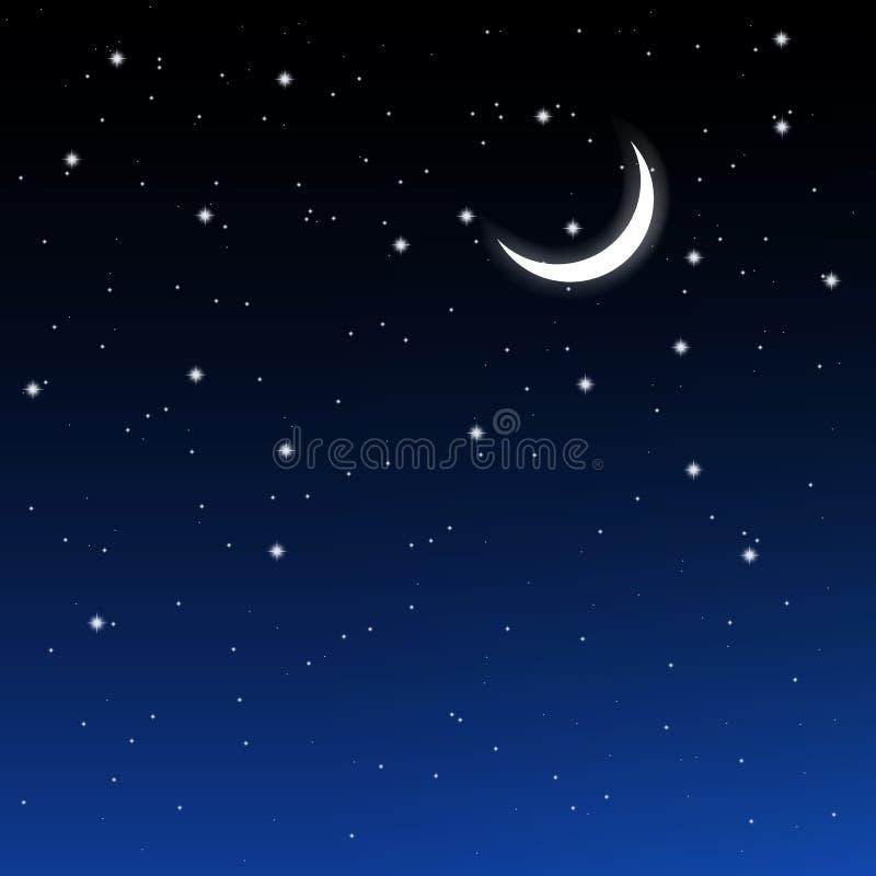 Sternenklarer Himmel und Halbmond lizenzfreie abbildung