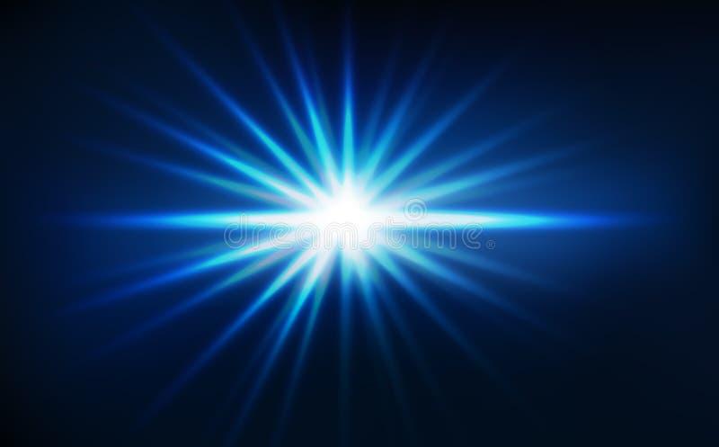 Sternexplosion, helle Strahlen bewirken blaue Konzeptzusammenfassungshintergrund-Vektorillustration lizenzfreie abbildung