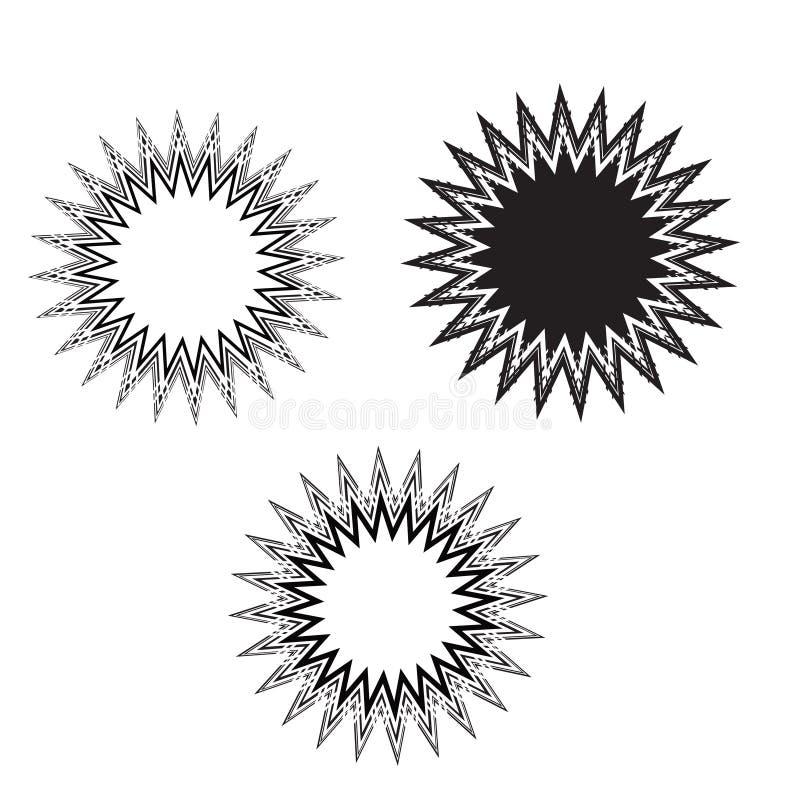 Sternexplosions-Aufklebersenator, Sonne, Sonnenstrahlzusammenfassungsdesign vektor abbildung