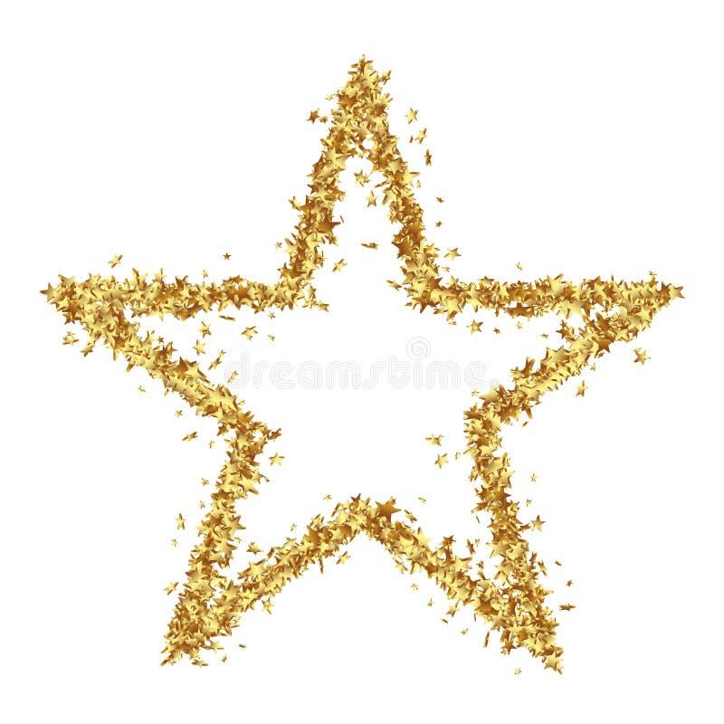 Sternförmige goldene Konfetti-Sterne auf weißem Hintergrund stock abbildung