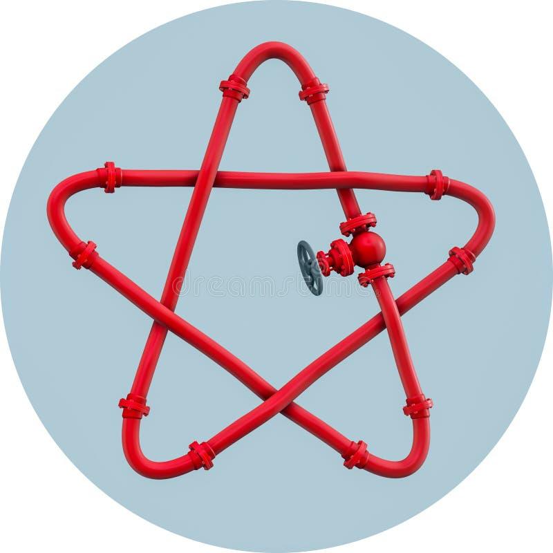 Sternförmige Illustration 3D des Gasrohres lizenzfreie abbildung