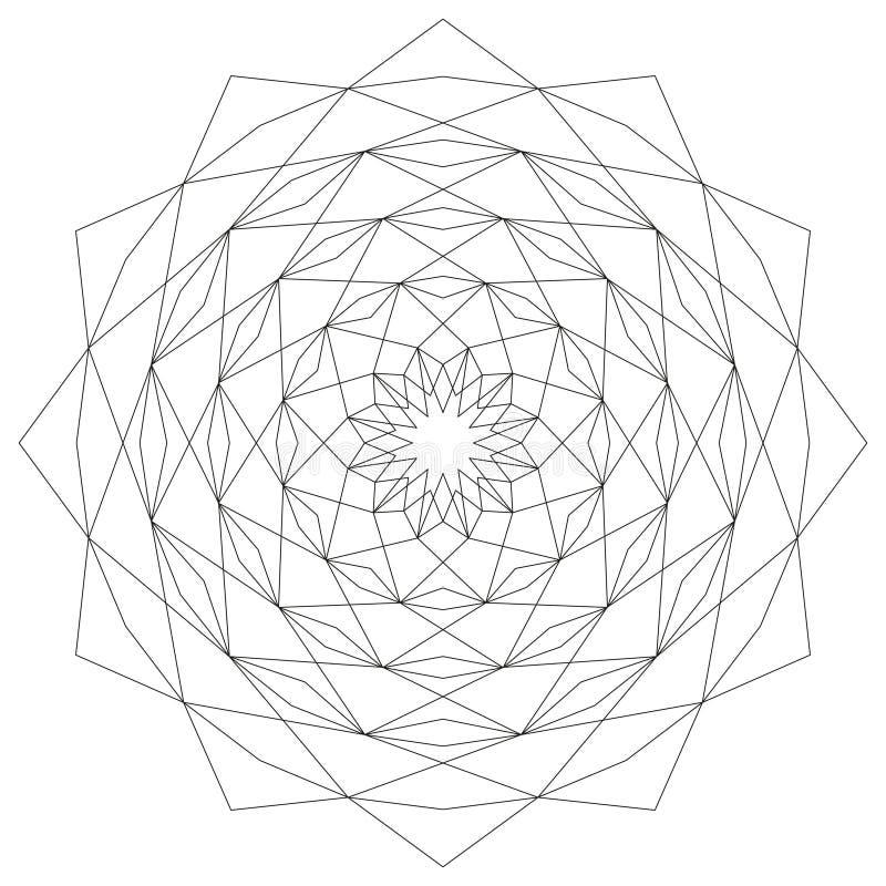 Sternförmiger geometrischer Mustermandalakreisstern Schwarzweiss - mystischer Hintergrund vektor abbildung