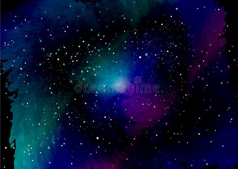 Sternfeld im Raum und Nebelflecke Abstrakter Hintergrund des Universums und der Gasansammlung Spiralarmraum mit schwarzen Löchern lizenzfreie abbildung