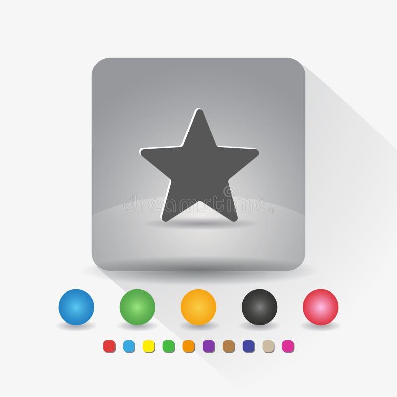 Sternformikone Zeichensymbol App in der runden Ecke der grauen quadratischen Form mit langer Schattenvektorillustration und Farbs vektor abbildung