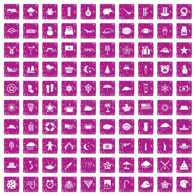 100 Sternikonen stellten Schmutzrosa ein lizenzfreie abbildung