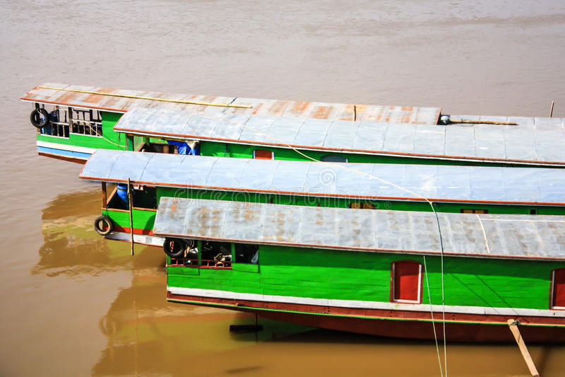 Sterns Of Laos Boat stock images
