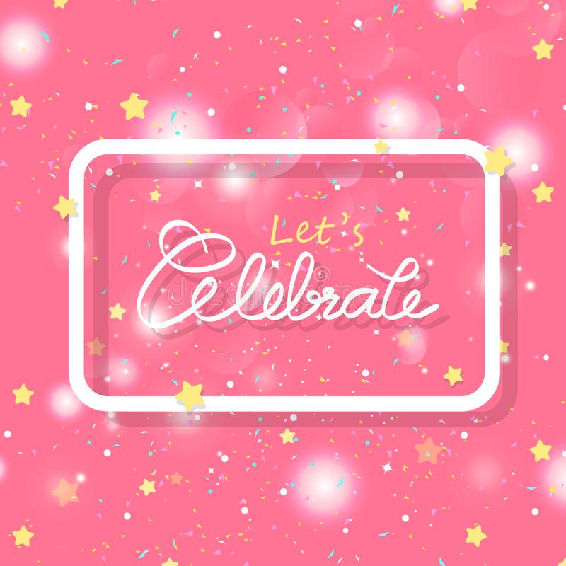 Sternschnuppen und Konfettiexplosion, Kalligraphiebeschriftung, Feierrahmen mit Funkeln Bokeh, Überraschungspartyfeiertag, stock abbildung