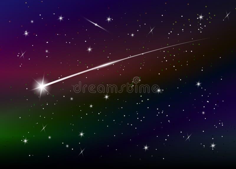 Sternschnuppenhintergrund gegen dunkelblauen sternenklaren nächtlichen Himmel, Vektorillustration vektor abbildung