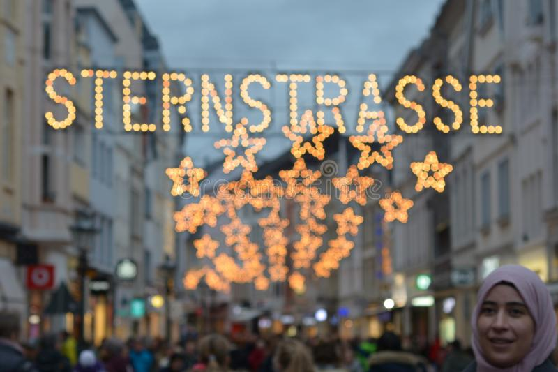 SternStrasse Street in Bonn, Duitsland stock afbeelding