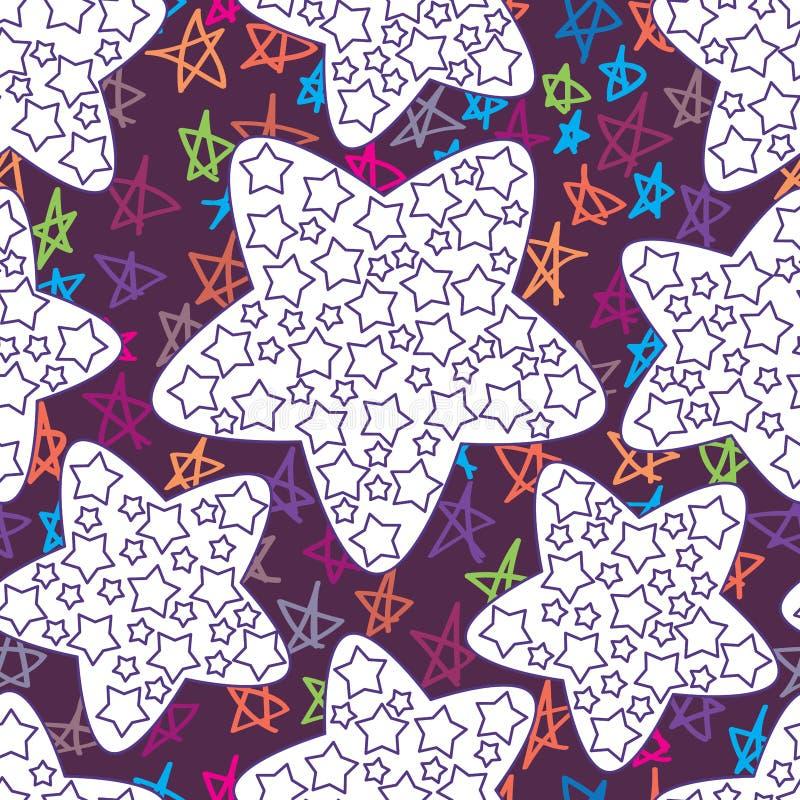 Sternthema, das nahtloses Muster färbt lizenzfreie abbildung