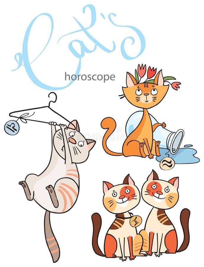 Sternzeichen in den Katzen: das Element der Luft lizenzfreie abbildung