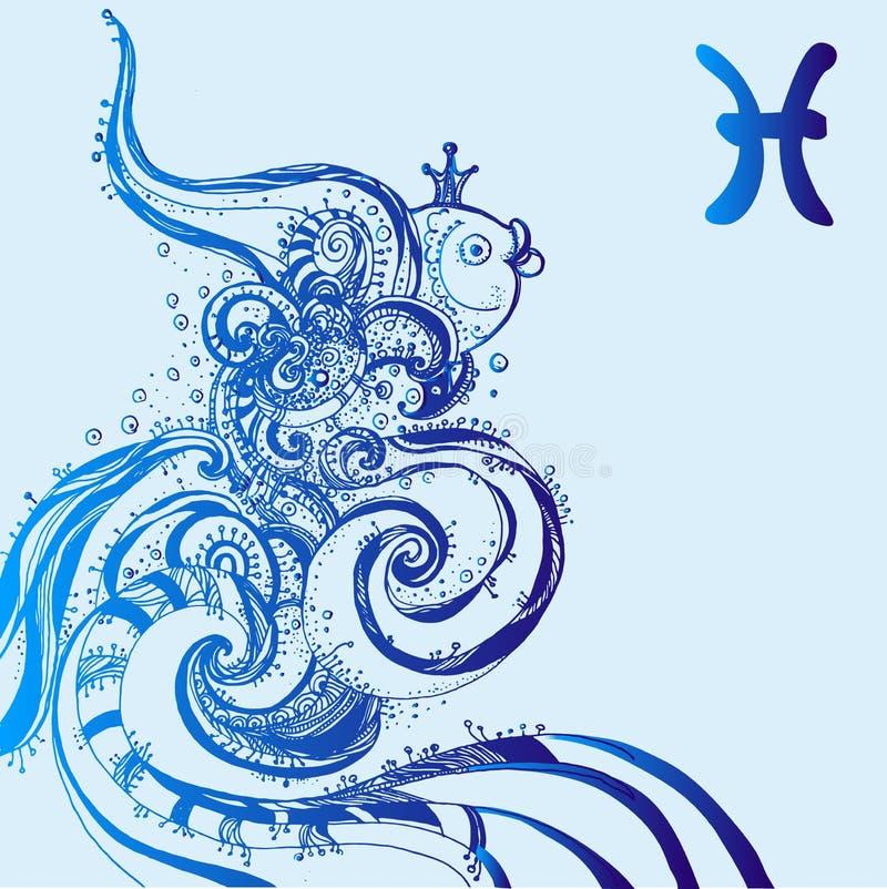 Sternzeichen Fische Vektorillustration des abstrakten Sternzeichens für Talismane, lizenzfreie abbildung