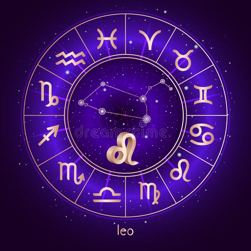 Sternzeichen und Konstellation LÖWE mit Horoskopkreis und heilige Symbole auf dem sternenklaren Hintergrund des nächtlichen Himme stock abbildung