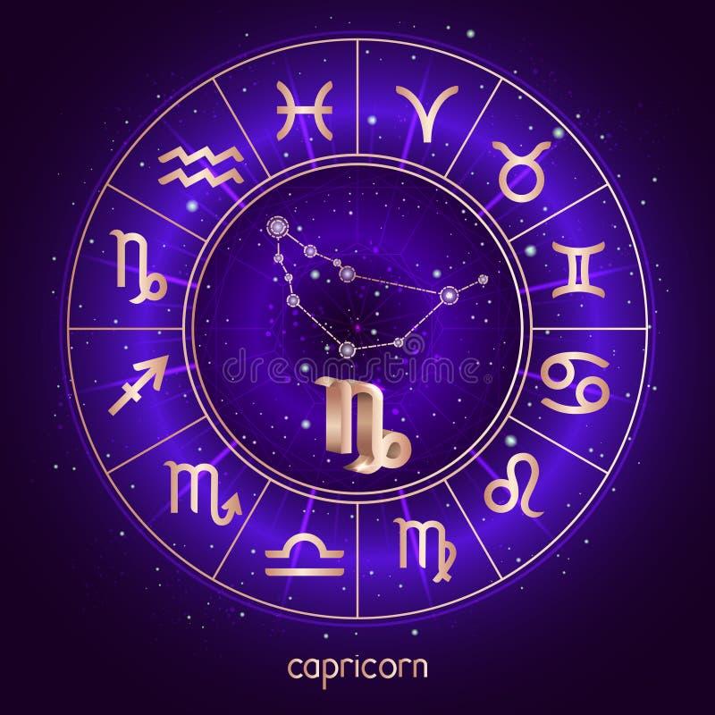 Sternzeichen und Konstellation STEINBOCK mit Horoskopkreis und heiligen Symbolen auf dem sternenklaren Hintergrund des nächtliche lizenzfreie abbildung