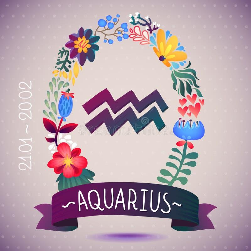 Sternzeichen WASSERMANN, in einem süßen Blumenkranz Horoskopzeichen, -blumen, -blätter und -band vektor abbildung