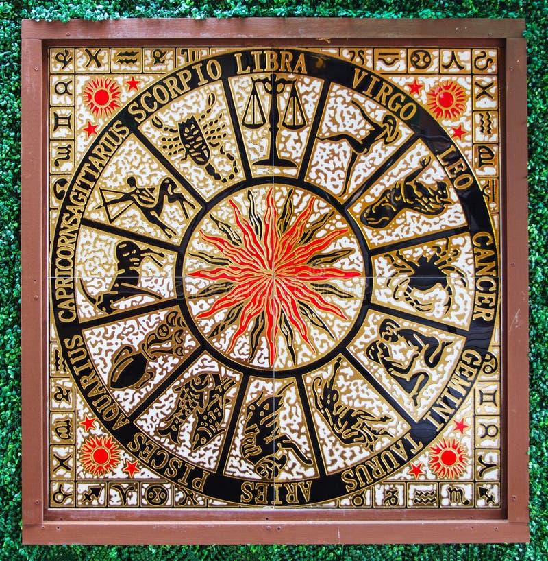 Sternzeichenikonen auf dem Granitstein geschnitzt stockfoto