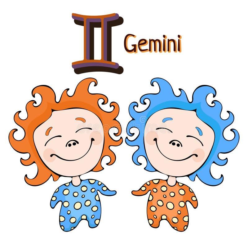 Sternzeichenkarikatur Zwillinge, astrologischer Charakter Gemalte lustige Zwillinge mit einem Symbol lokalisiert auf weißem Hinte stock abbildung