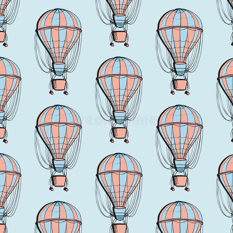 Sterowa balonowy kolorowy wzór Podróży ballon z koszykową lato teksturą Przygody turystyki dekoracja ilustracji