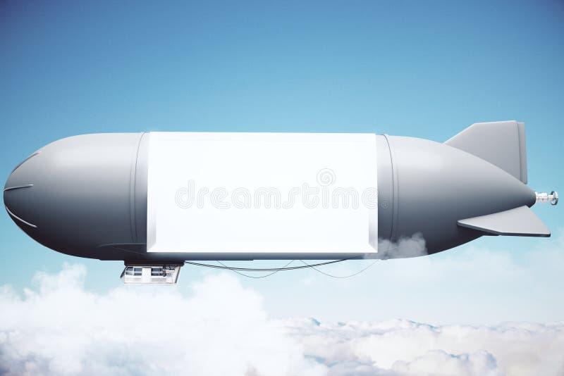 Sterowiec z billboardem ilustracja wektor