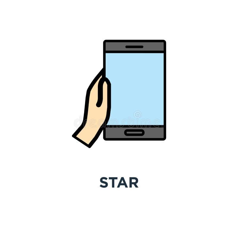 sterpictogram, symbool van gebruikersclassificatie, referentie en evaluatie in de bel over mobiele telefoon, sociale media van ge royalty-vrije illustratie