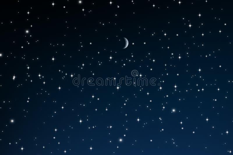 Sterren bij Nacht met toenemende maan stock foto's