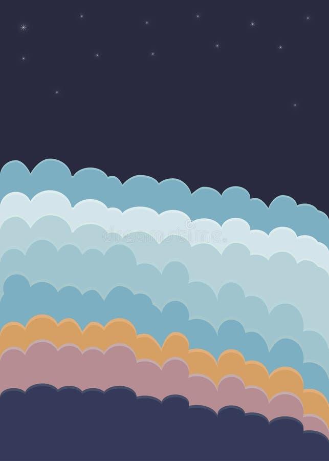 Sterren die van de wolken de blauwe oranje roze donkere hemel boven horizon glanzen stock illustratie