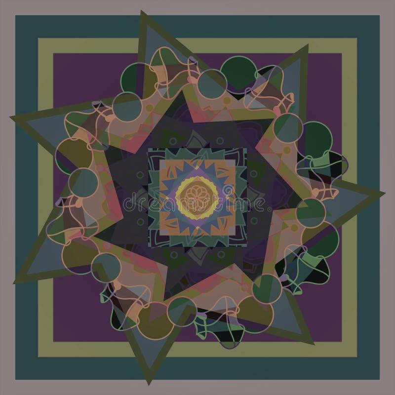 STERREN EN CIRKELSmandala ONTWERP Geometrische Achtergrond PASTELKLEURENpallet IN BRUINE OLIJF, GROENACHTIG BLAUW, royalty-vrije illustratie