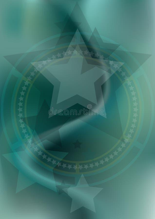 Sterren en de hoepels op blauwgroene netwerkachtergrond royalty-vrije illustratie