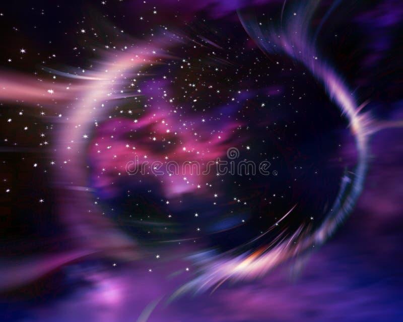 Sterren en materiële dalingen in een zwart gat vector illustratie