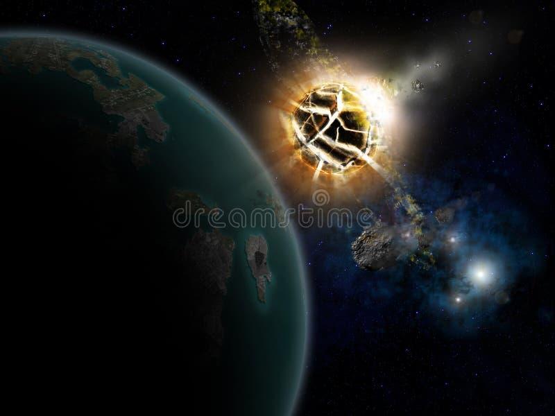 Sterren en planeet stock illustratie