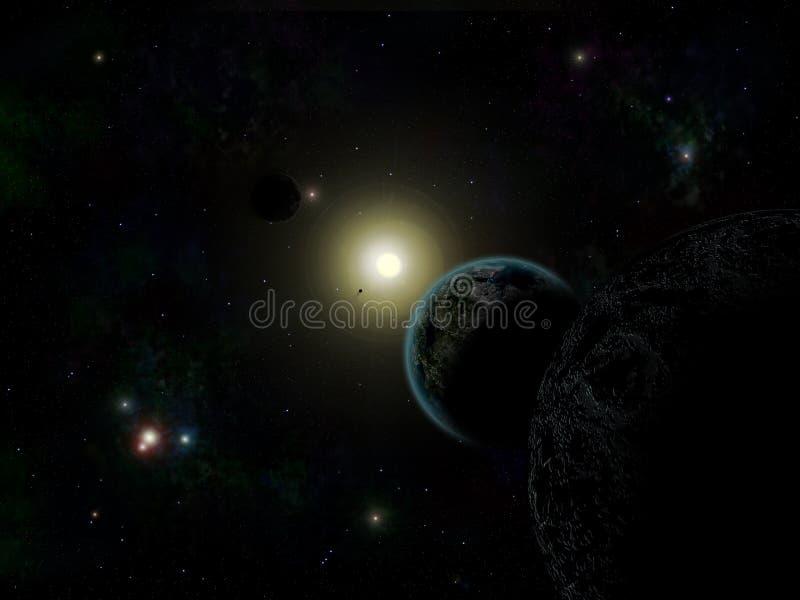 Sterren en planeet royalty-vrije illustratie