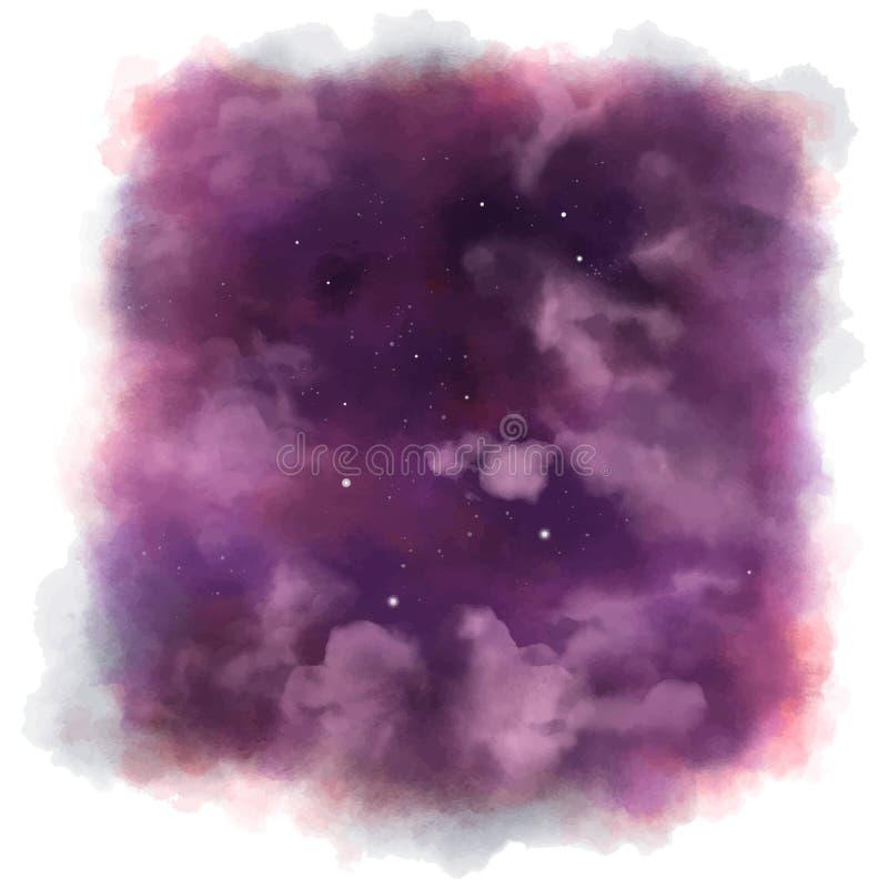 Sterren op donkere en kleurrijke hemel Mooie Avondmening vector illustratie