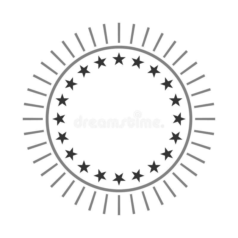 Sterrenvorm in een cirkel met strepen Tekens aan het centrum van de vectorillustratie worden geroteerd die Rond pictogram royalty-vrije illustratie