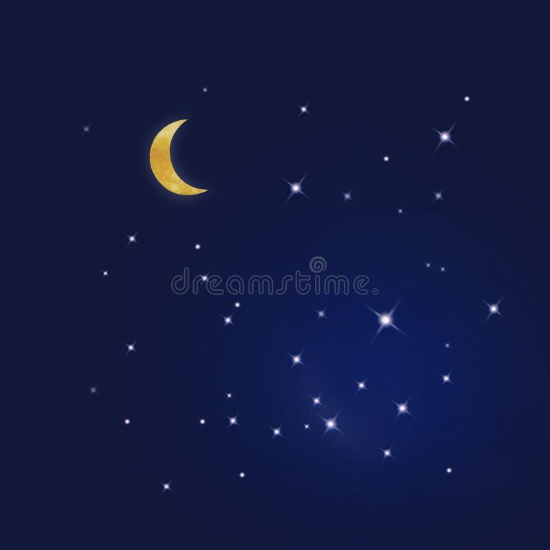 Sterrige blauwe hemel stock illustratie