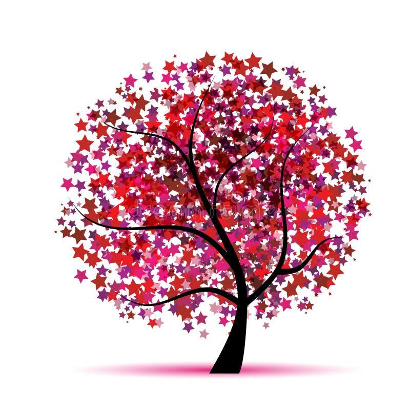Sterrige boomfantasie voor uw ontwerp royalty-vrije illustratie