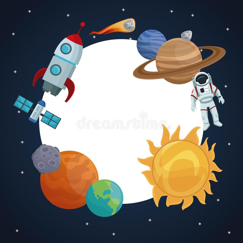 Sterrige de hemelachtergrond van het kleurenlandschap met cirkelkader van pictogrammenruimte en planeten royalty-vrije illustratie