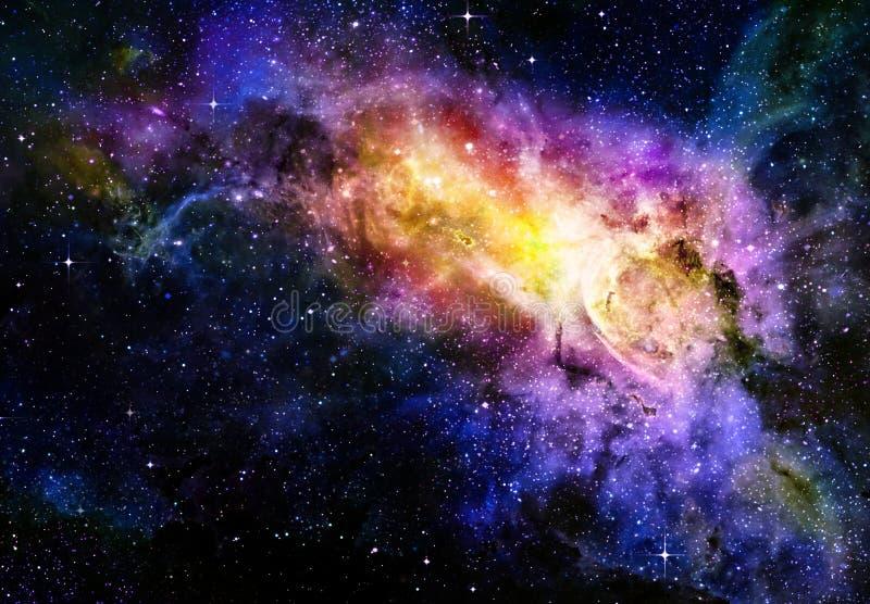 Sterrige diepe nebual kosmische ruimte en melkweg stock illustratie